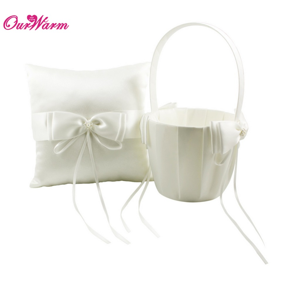 Wedding flower girl baskets ivory flower girl basket wedding ring pillow flower basket with satin bows ivory ring pillow flower girl basket for wedding izmirmasajfo