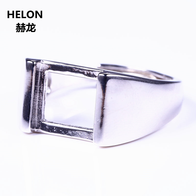 925 Sterlin g Silver Men Ring Engagement Wedding Semi Mount Ring for 10x10mm Princess Cabochon Amber Lapis Lazuli DIY Stone925 Sterlin g Silver Men Ring Engagement Wedding Semi Mount Ring for 10x10mm Princess Cabochon Amber Lapis Lazuli DIY Stone