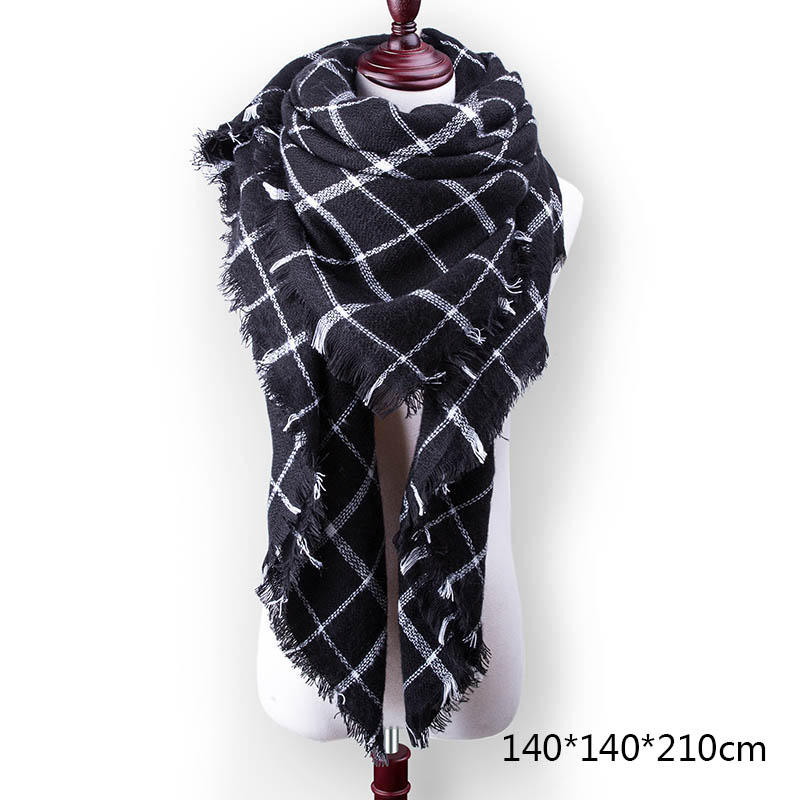 Горячая Распродажа, Модный зимний шарф, Женские повседневные шарфы, Дамское Клетчатое одеяло, кашемировый треугольный шарф,, Прямая поставка - Цвет: A13