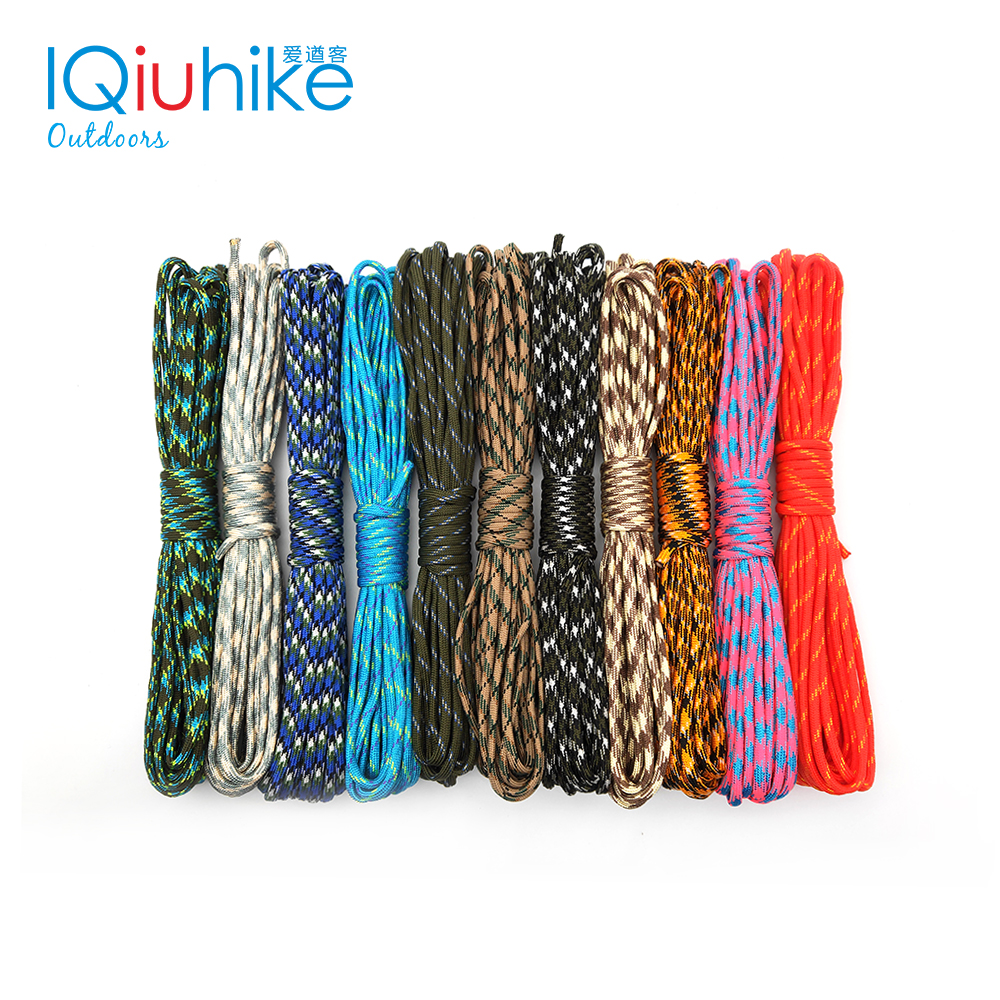 IQiuhike Camouflage 5 Meters Paracord 550 Parachute Cord Lanyard Mil Spec Type III 7 Strand Camping Survival Equipment Tent Rope
