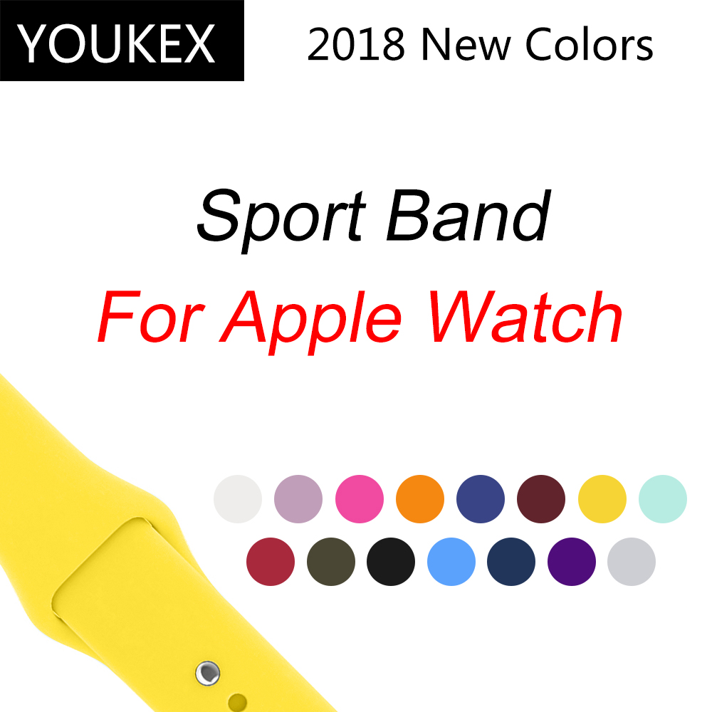 YOUKEX Silicone Sport Band for Apple Watch 38mm 42mm Replacement Sport Bracelet Wrist Strap for iWatch Series 1 & 2 & 3 youkex silicone sport band for apple watch 38mm 42mm replacement sport bracelet wrist strap for iwatch series 1