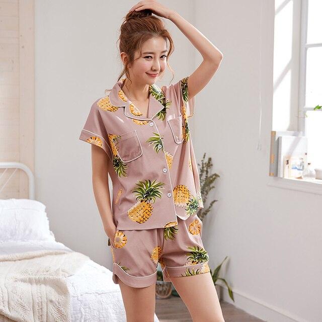 2018 Summer Pijamas Women Pajamas Shorts Set Female Cute Pyjamas Women Sexy  Night Suit Cotton Casual Sleepwear Big Yard M-XXL 19bfb2fc4