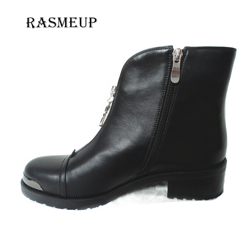 RASMEUP Fashion Women Zipper Ankle Boots Leather Round Toe Platform Martin Boots Autumn Winter Woman Motorcycle Boots Shoes