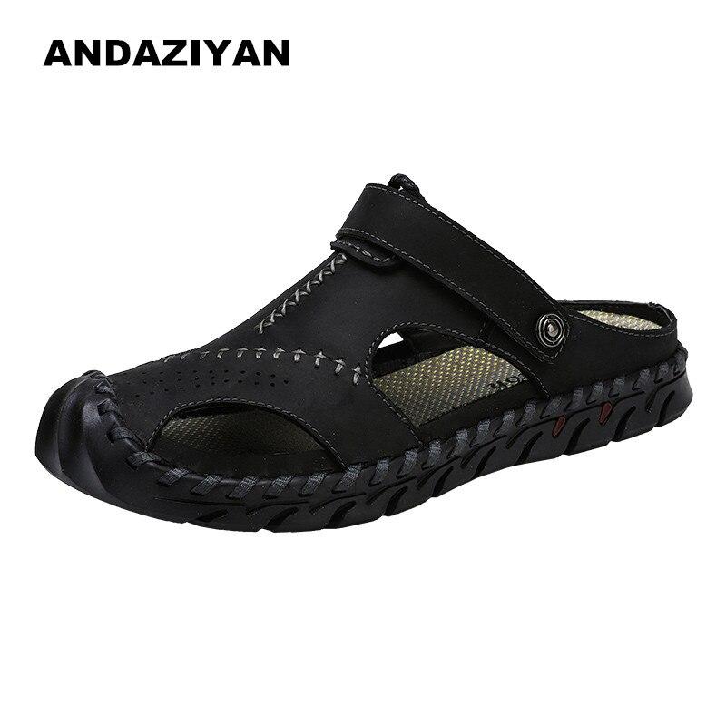 Sapatos marrom cáqui Porte Verão Sandálias De Homens Livre Ao Dos Preto Ar Couro Grande RUwYFA