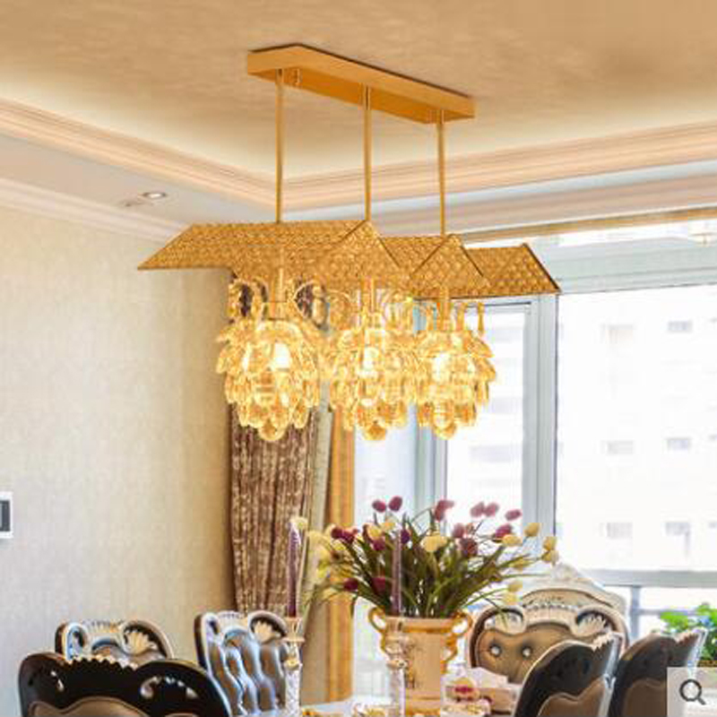 Restaurant light chandelier three crystal chandelier modern simple meal chandelier personality creative bedroom lamp bar table modern and simple aluminum chandelier creative personality restaurant bar clothing store chandelier free shipping