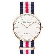 Clássico marca Genebra relogio feminino relógio De Quartzo casuais homens mulheres Nylon strap Vestido de relógios das mulheres assistir Presente Relojes hombre