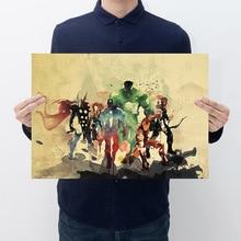 Cómics Marvel hulk Iron Man /Vintage retro/papel kraft/pegatinas de pared/póster Retro/pintura decorativa 51x35.5cm