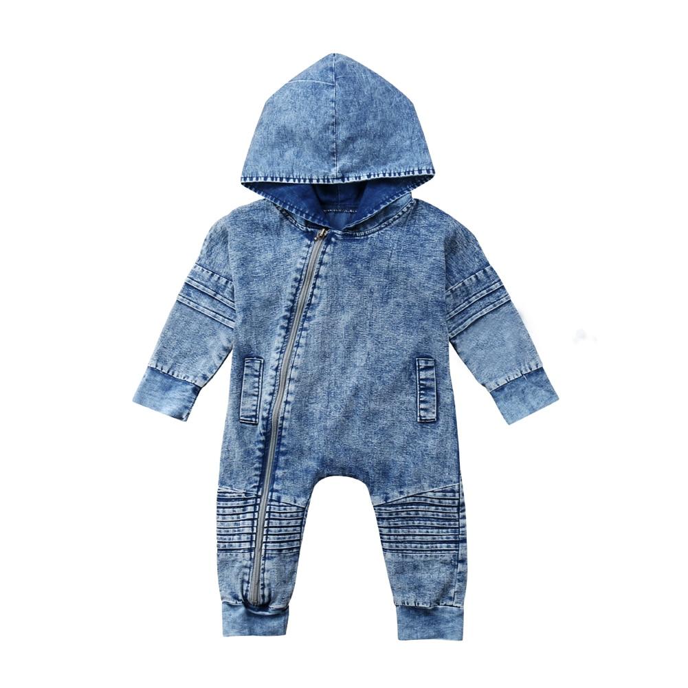 Denim   Romper   Newborn Kids Baby Boy Girls Hooded Zipper   Romper   Long Sleeve Jumpsuit Outfits Clothes