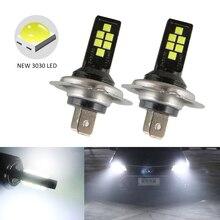 2 قطعة H7 LED سيارة الضباب لمبات إضاءة LED 3030 12 LED مصباح Canbus DRL 12 فولت الأبيض الأصفر الأحمر سيارة القيادة تشغيل مصباح السيارات لمبة Led H7
