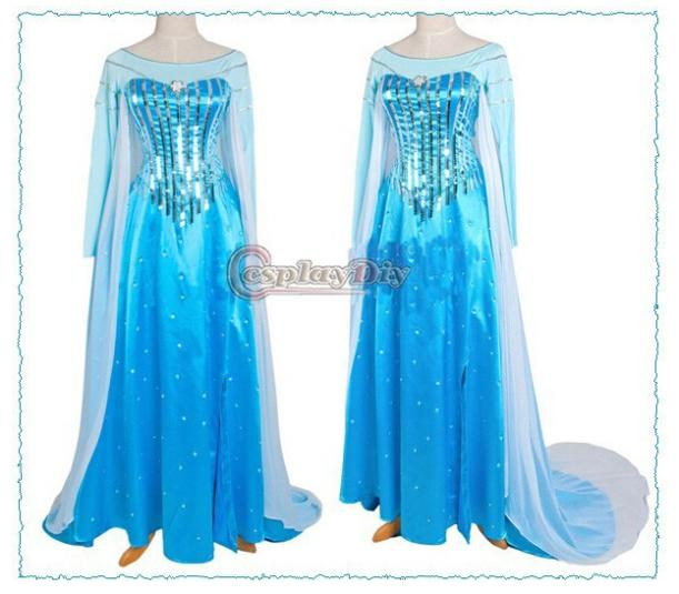 Us 9999 Custom Made Movie Cosplay Costume Princess Elsa Dress From Movie Frozen For Adult In Dresses From Womens Clothing On Aliexpresscom