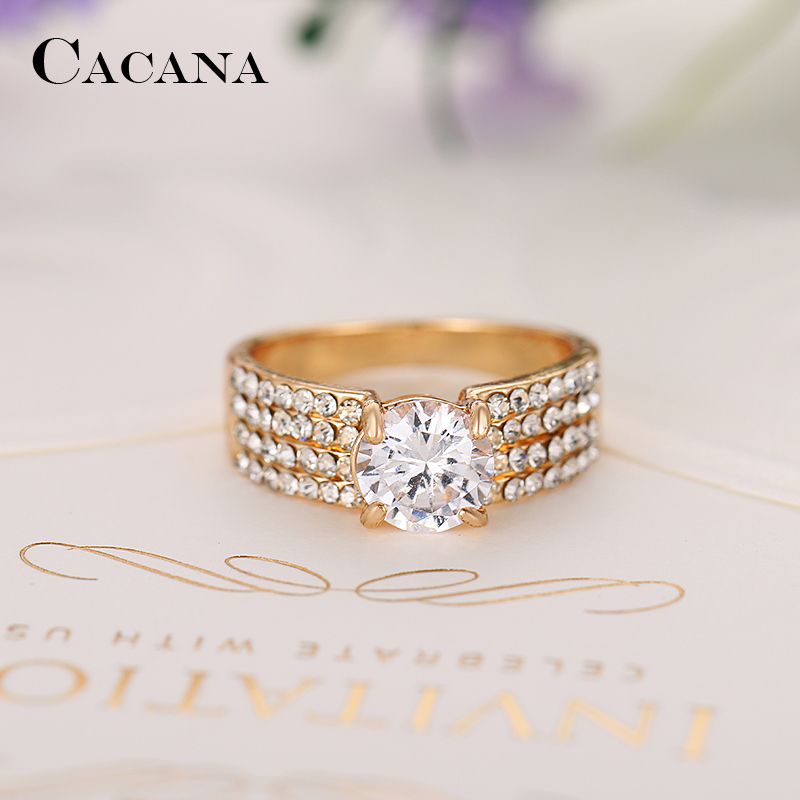 9792d07a1 CACANA Four lines Cubic Zirconia Rings For Women Trendy Fashion Zinc Alloy  Rings Jewelry Bijouterie Wholesale NO.R503