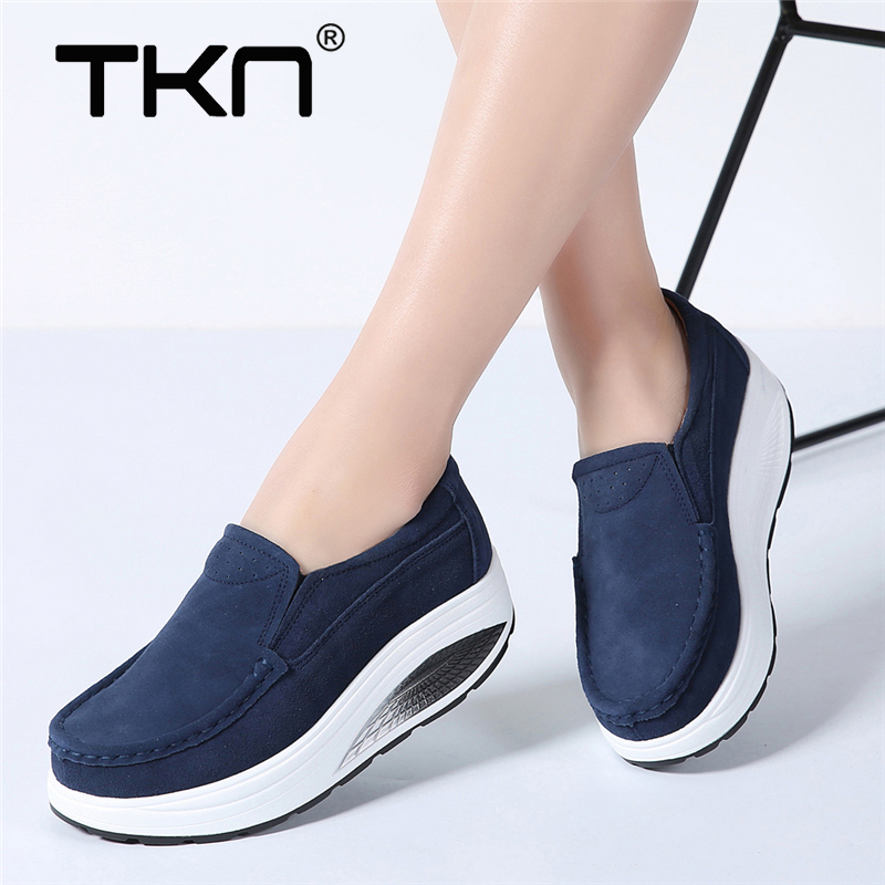 TKN 2019 Spring women platform shoes thick heel casual shoes   leather     suede   footwear women slip on flats creepers moccasins 523