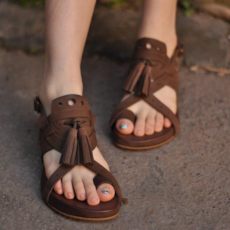 Artmu Fashion Women Leather Shoes Sandals Handmade Genuine Leather Buckle Sandals Gladiator Shoes sandalias Flat Beach Sandals