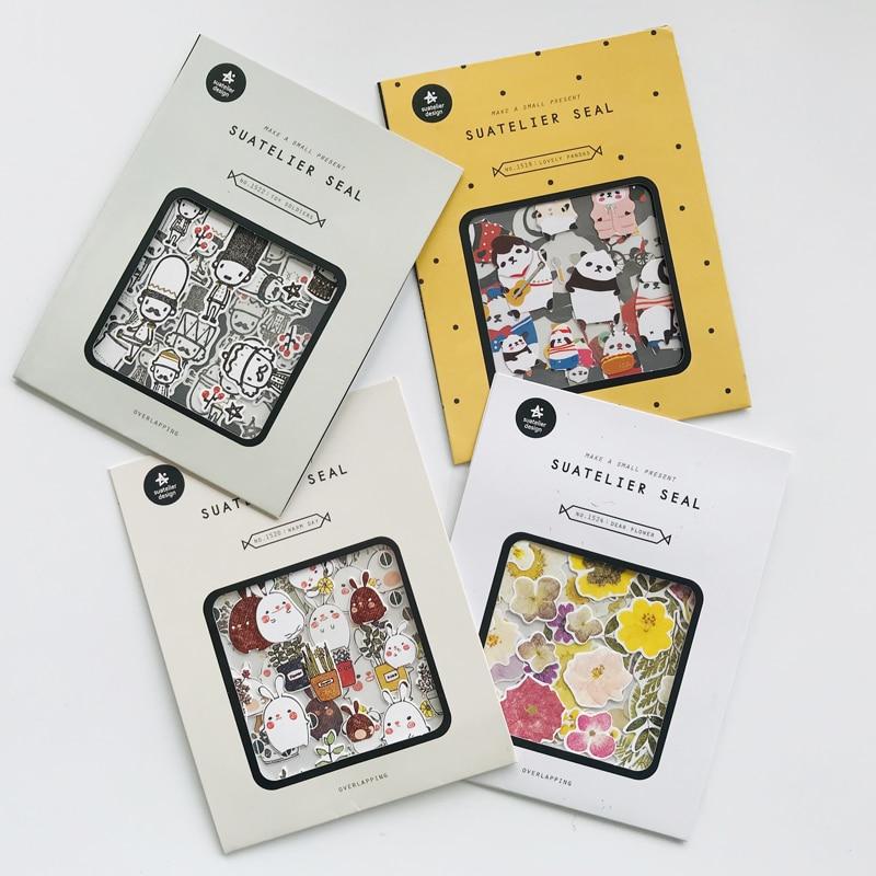 1 Pack Rabbit Panda Flowers London Soldier Hand Account Notebook Decorative Sticker Stick Label 4 Sheets