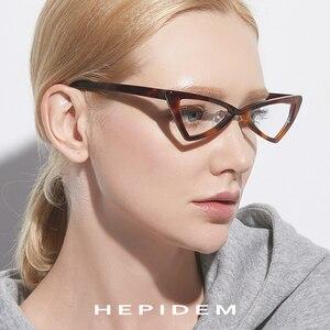 Image 2 - Acétate lunettes cadre femmes marque concepteur 2019 nouveau Transparent clair lunettes femme chat oeil lunettes lunettes pour femme