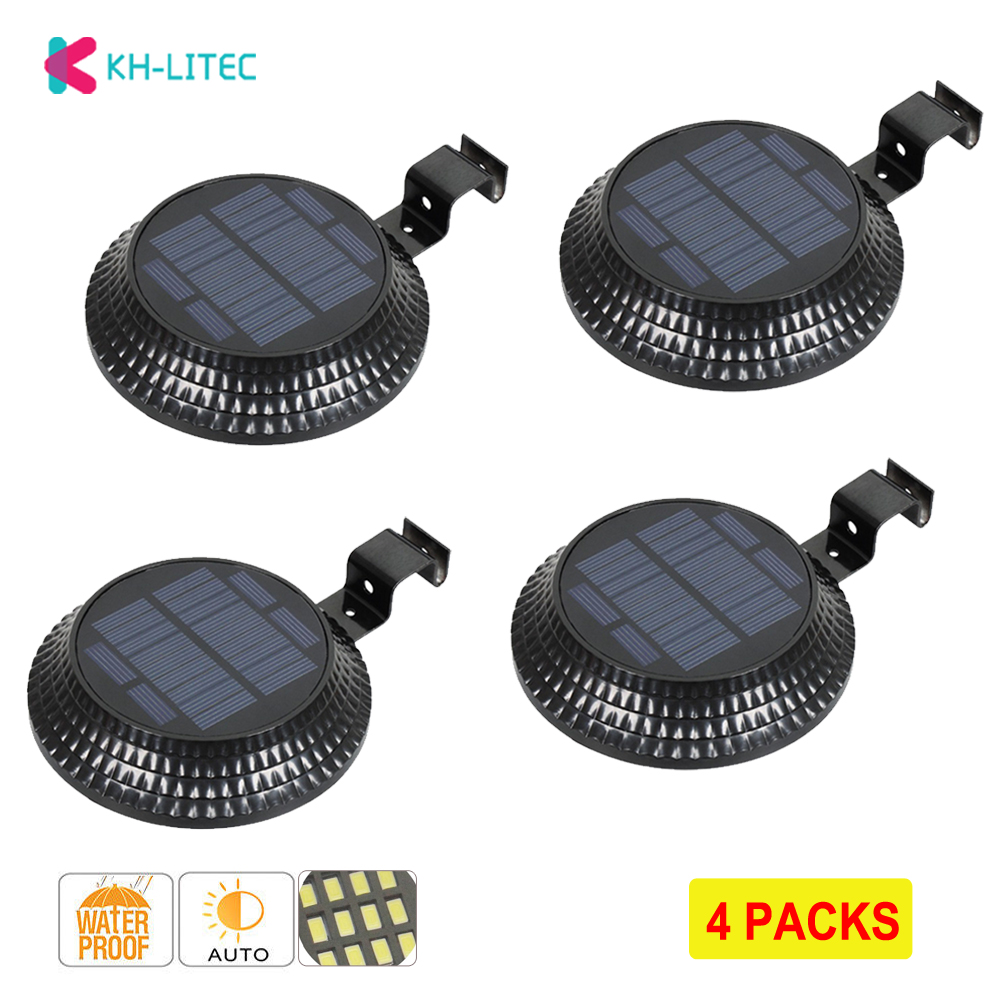 4 PCS 12 LED Light Sensor Solar Lamps Solar Power Gutter Light Garden Solar Outdoor Lighting Fence Security Wall Yard Lights