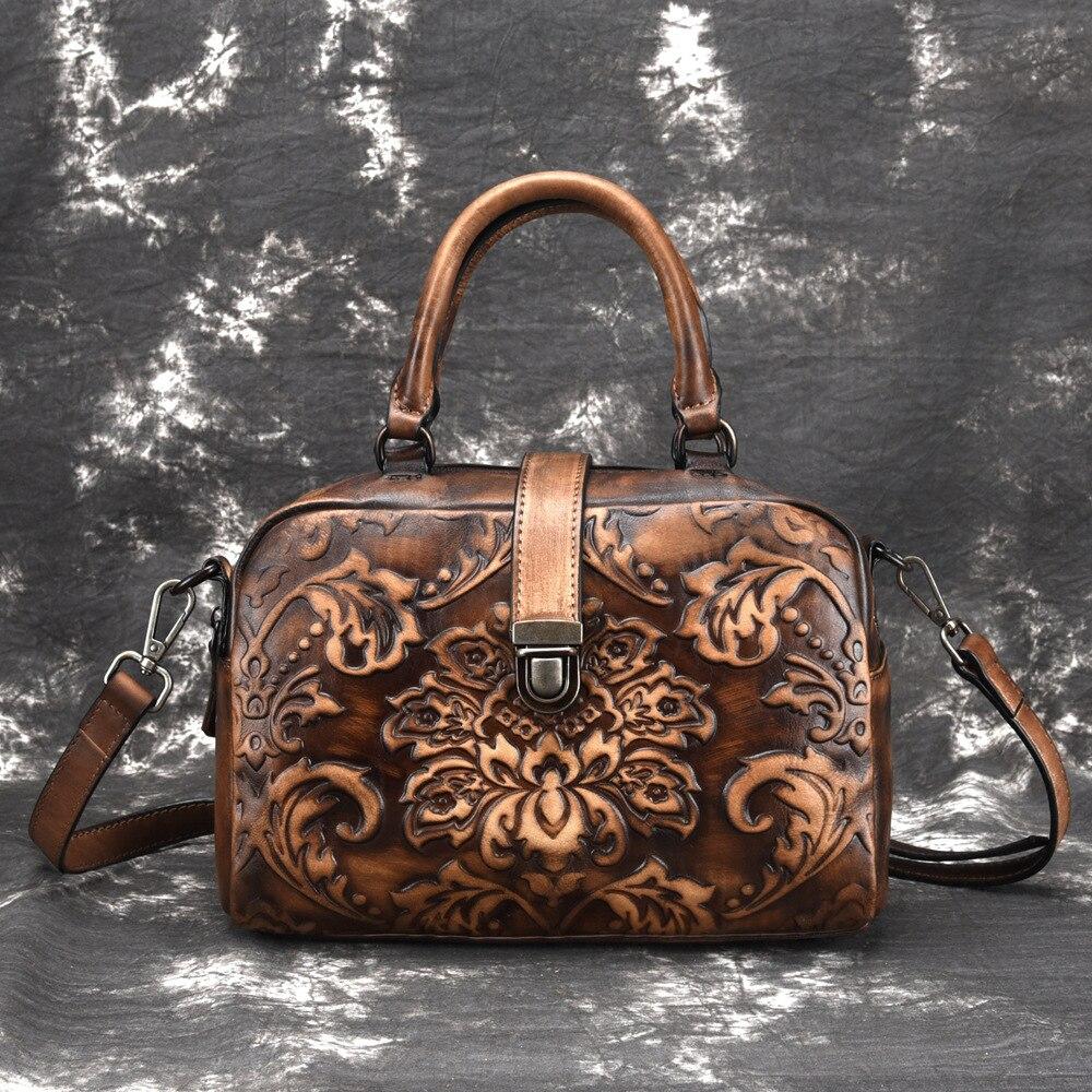 Vintage Luxury Women Genuine Leather Handbag Ladies Retro Elegant Shoulder Messenger Bag Embossed Floral Bolsas Cross Body B