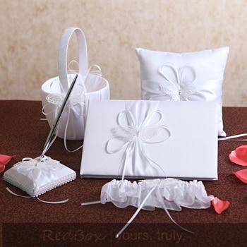 Free shipping 5pcs/ Set  white with Satin Wedding Guest Book Ring Pillow Flower Basket garter Pen Holder Sets Bridal Product