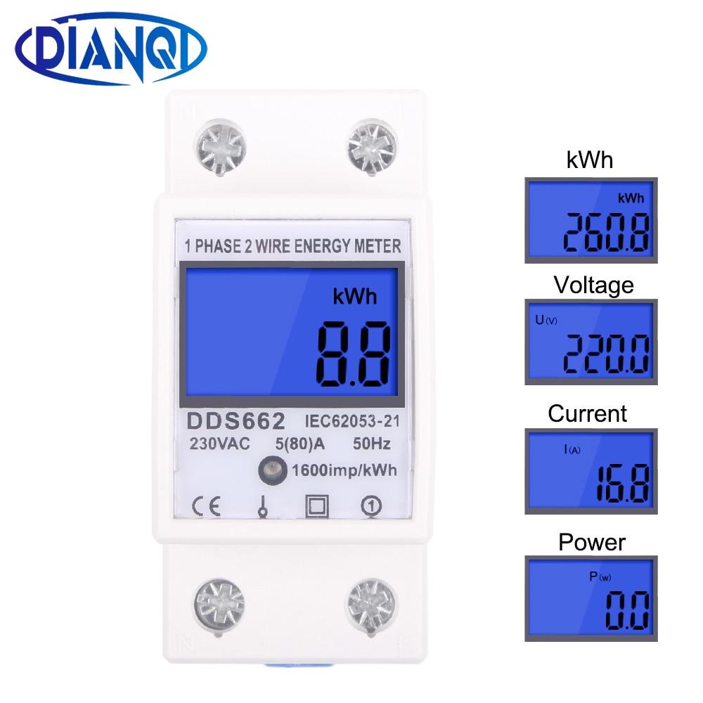 Monophasé deux fils LCD affichage numérique wattmètre consommation d'énergie compteur électrique kWh AC 230V 50Hz électrique Din Rail