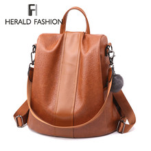 HERALD FASHION Quality Leather Anti-thief Women Backpack Large Capacity Hair Ball School Bag for Teenager girls Male Travel Bags(China)