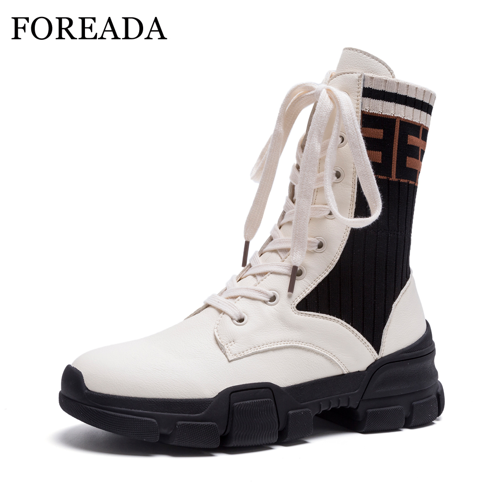 FOREADA Mid Calf Boots Women Winter Genuine Leather Motorcycle Boots Lace Up Platform Flat Sock Boots Shoes Autumn White Black autumn winter girls princess long boots children motorcycle boots lace up genuine leather mid calf snow boots 03b