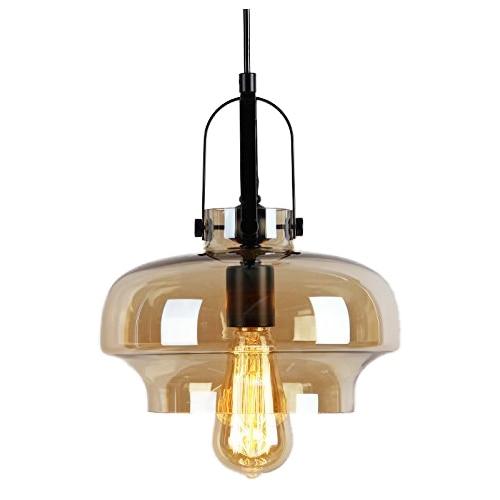 Industrial Edison 1 Light Glass Shade Ceiling Pendant Lamp Fixture (Single head smoke glass chandeliers) edison ceiling pendant clear glass crystal industrial edison light lamp loft hotel hallway store club cafe beside