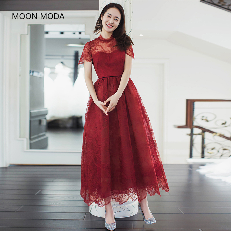 MOON MODA A-line Half sleeve lace formal evening dresses elegant ...