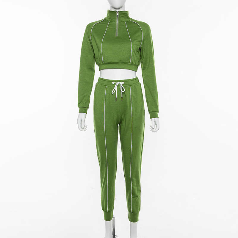 2019 New autumn women fashion green two pieces set reflective striped patchwork zipper turtleneck crop top long pants outfit set