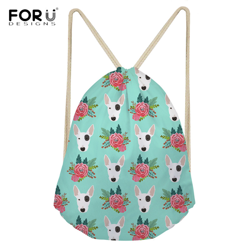 FORUDESIGNS Cute Bull Terrier Print Canvas Drawstring Bag Multicolors Backpacks Casual Travel Bags Funny Dog Teenagers Mochilas