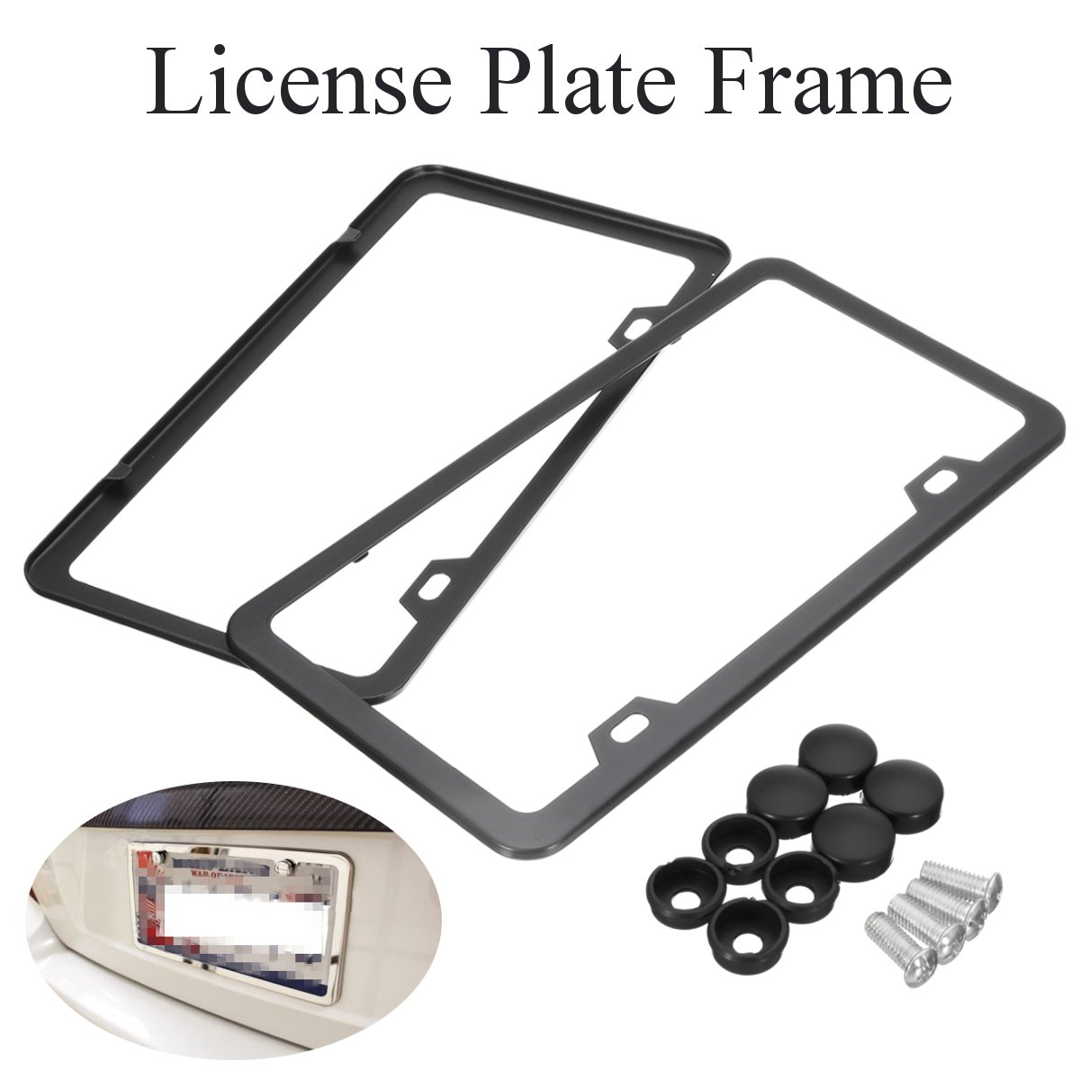 2pcs Car Wide Side Slim Stainless Steel License Plate Frame Tag Cover Screw  Cap In Car Stickers From Automobiles U0026 Motorcycles On Aliexpress.com |  Alibaba ...