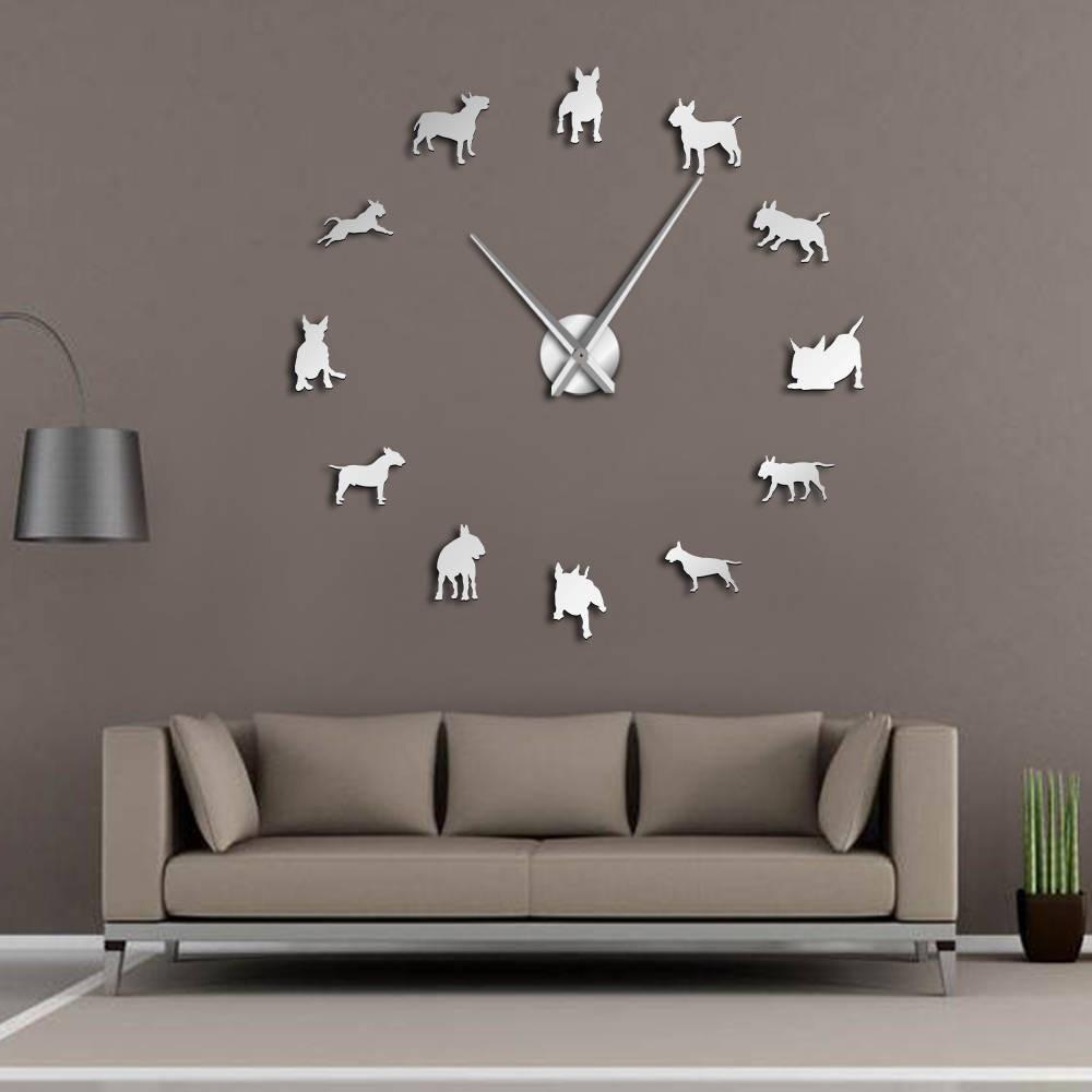 Pug Dog 3D Animals DIY Giant Wall Clock Dog Breeds Mirror Effect Puppy Wall Art