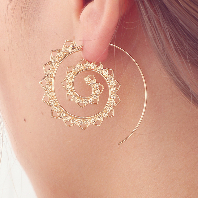 Tocona Ethnic Spiral Earrings exaggerated Whirlpool Gear Earrings for Women Hoop Gypsy Tribal Earrings Jewelry  2