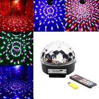 Controllo vocale di natale proiettore laser luce della fase mp3 telecomando ir digital rgb led di cristallo magic ball dj light bar # lo