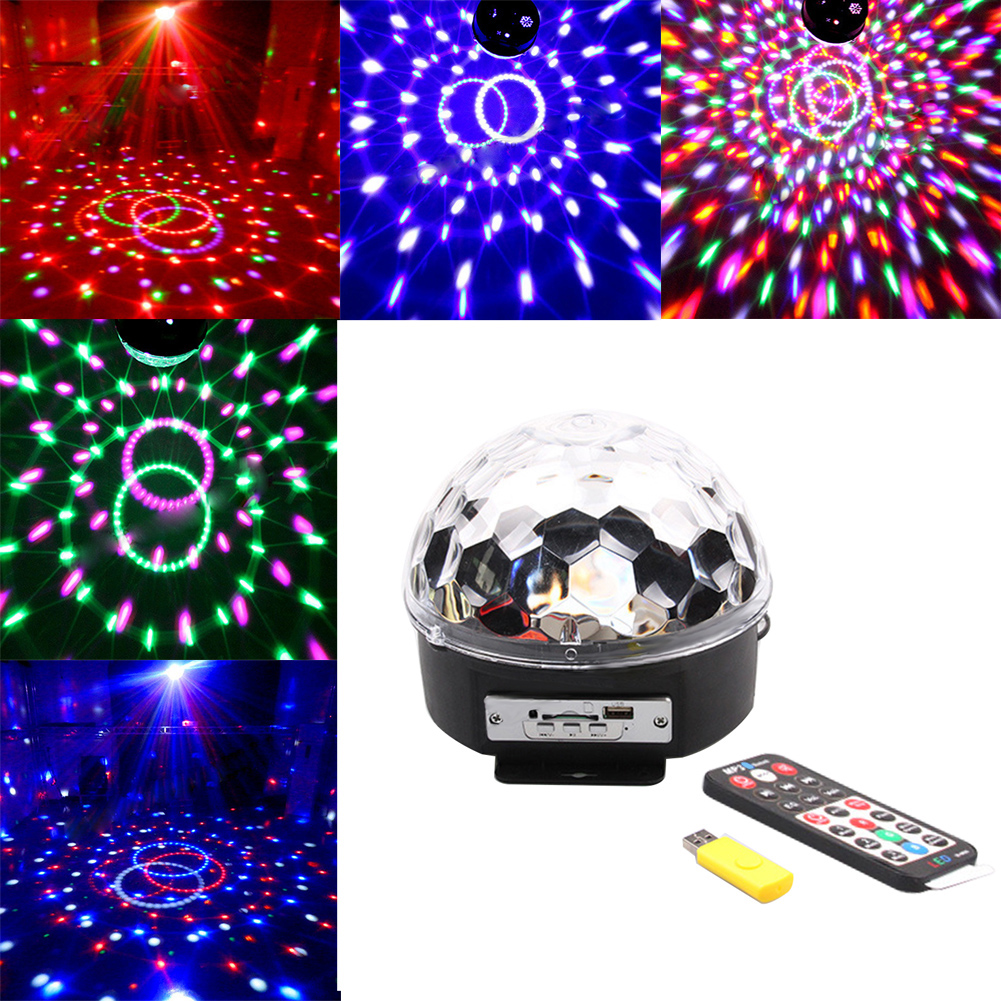 Voice Control Christmas Laser Projector Stage Light MP3 IR Remote Digital RGB LED Crystal Magic Ball DJ Bar Light #LO hot 6 3w leds voice cotrol laser stage light mp3 magic ball light ir remote digital rgb led crystal magic ball