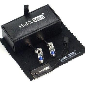 Gemelos de reloj de arena azul MMS, caja de exhibición, trapo y etiqueta para limpiar, regalo para hombres y padrinos de boda, brazalete de reloj de arena francés