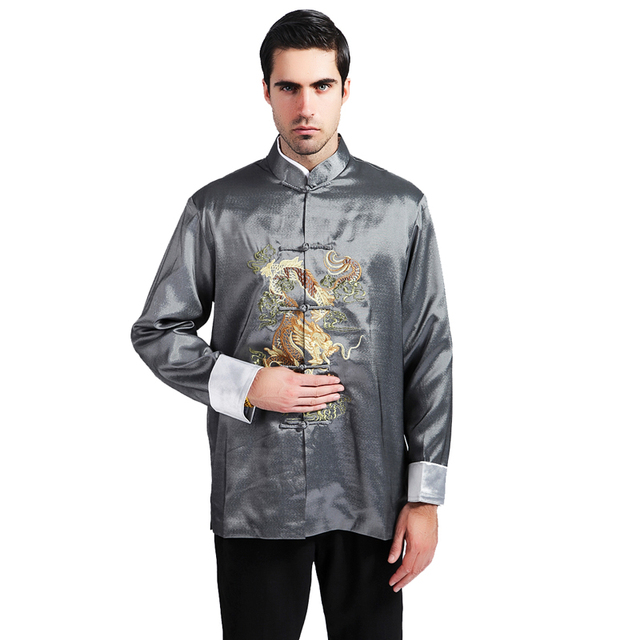 Novelty Gray Embroidery Dragon Men Coat Chinese Style Kung Fu Jacket Silk Satin Overcoat Spring Autumn New Outwear MS127