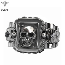 EVBEA 2017 Design Skull Men Ring Zinc Alloy Punk Rock Rings Fashion DIY For Happy NEW Year Gift Bike