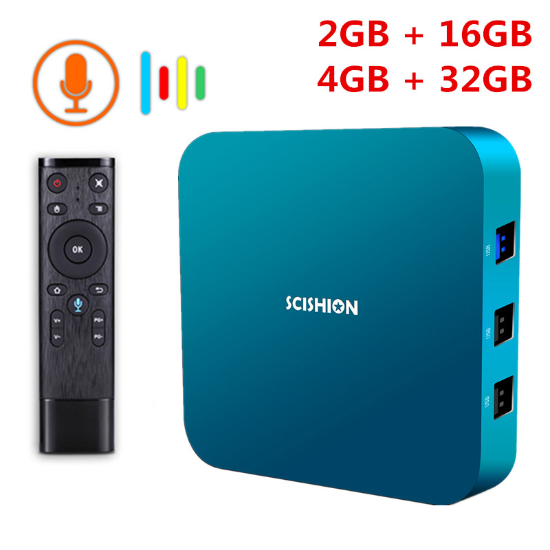 SCISHION AI ONE Android 8.1 Smart TV Box Rockchip 3328 2 GB/4 GB 16 GB/32 GB 2.4G WiFi USB3.0 BT4.0 décodeur avec commande vocale