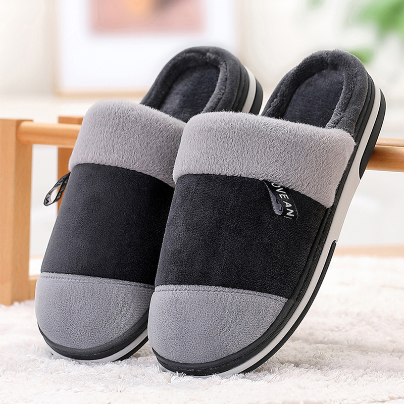 Home Slippers For Men Memory Foam Wear Resistant Winter Man's Slippers Short Plush Mix Color Comfortable Fur Slippers Men