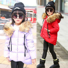 Fashion Girls Clothes Outerwear Warm Winter Coat Down Cotton Jacket Imitation Raccoon Fur Hooded Thickened Parkas Casual Kids