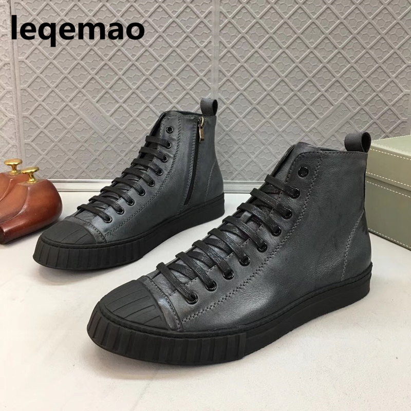 Hot Sale Fashion Brand Leqemao men casual boots Top Soft genuine leather Zipper thick sole heighten men shoes Size 38-44 туфли betsy туфли на платформе