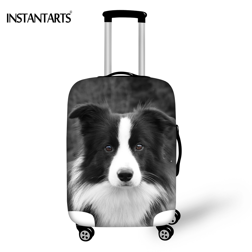 INSTANTARTS Cute Border Collie Prints Luggage Waterproof Covers Apply to 18-30 Inch Suitcase Travel Accessories Dust Rain Cover ...