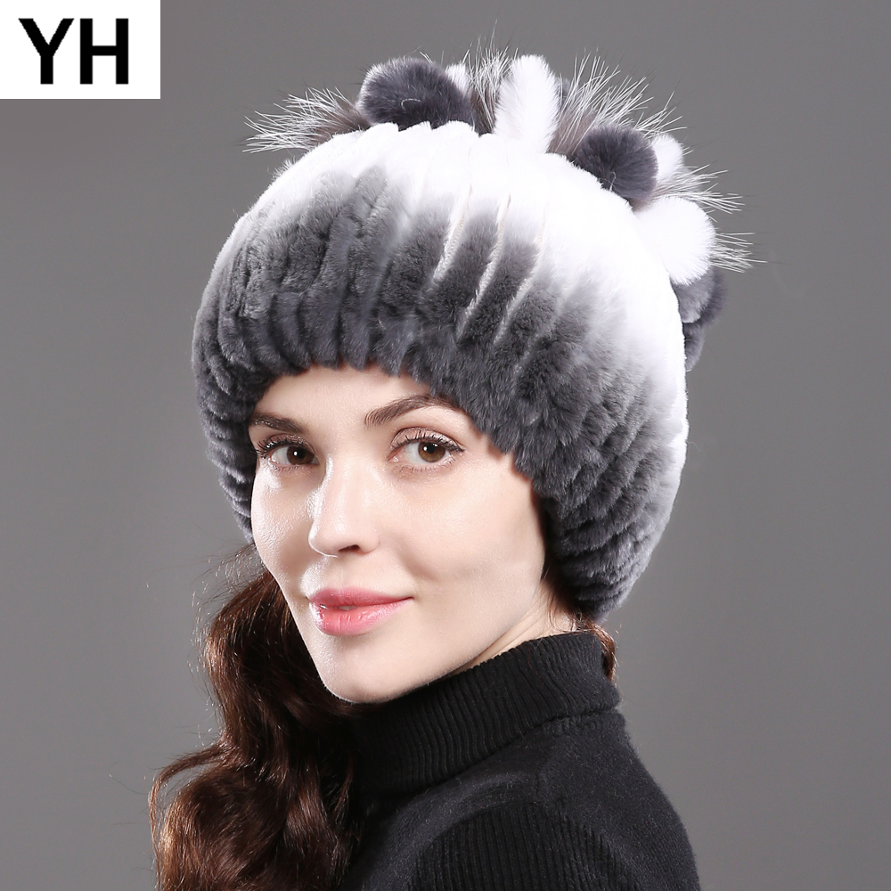 2018 Women's Genuine Rex Rabbit Fur Hats Winter Rex Rabbit Fur Beanies Striped Head Top Flower Fox Fur Warm Real Fur Knit Caps(China)