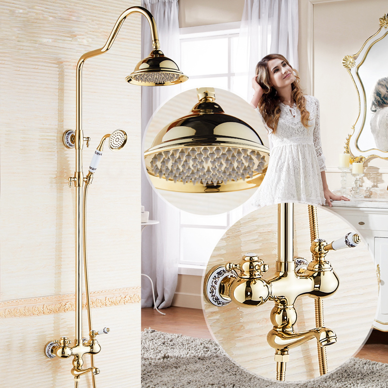 Contemporary 8 Brass Shower Head with Dual Handles Gold Finish Shower Mixer Faucet