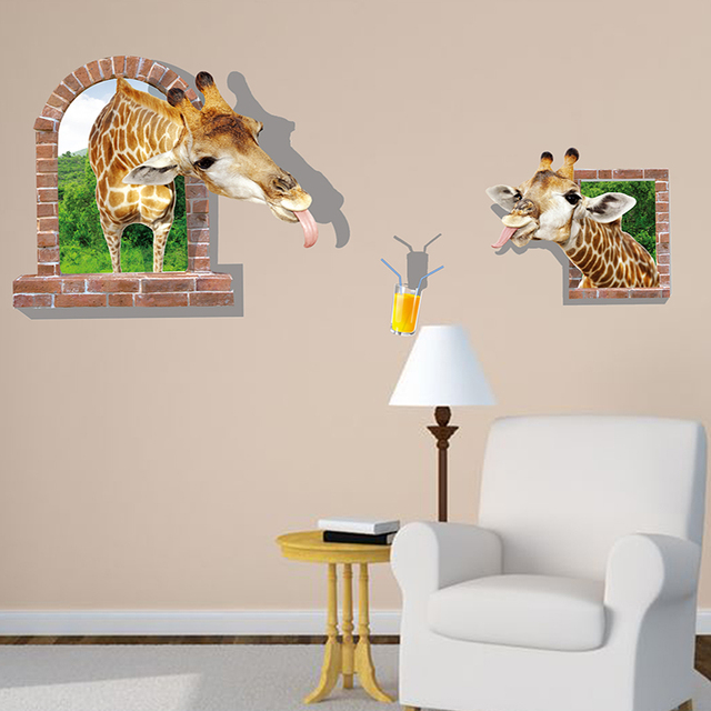 wholesale funny window giraffes 3d stickers creative animal wall