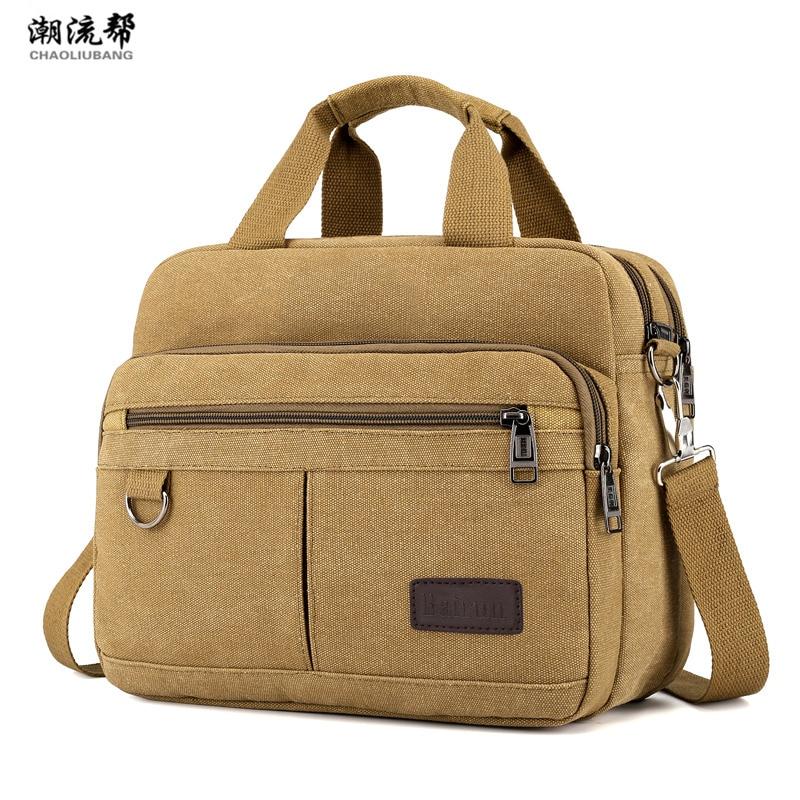 Big Canvas Women Handbags Tote Bags Solid Multi-pocket Shoulder Messenger Bags