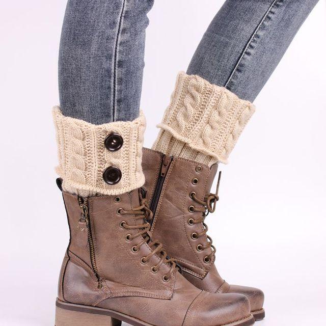 5 Colors Women Knit Leg Warmer Short Boot Cuffs Buttons Crochet Boot