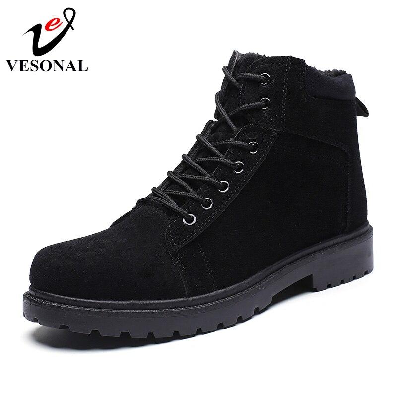 Home Zielsetzung Vesonal Marke 2018 Bequeme Stiefel Männlichen Schuhe Erwachsene Für Männer Vintage Warm Mit Pelz Fahren Gehen Ankle Schuhe B1119