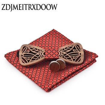 ZDJMEITRXDOOW wooden bow  Tie set and Handkerchief Bowtie Necktie Cravate Homme Noeud Papillon Man Corbatas Hombre Pajarita cartoon fish doodle print tie bowtie and handkerchief