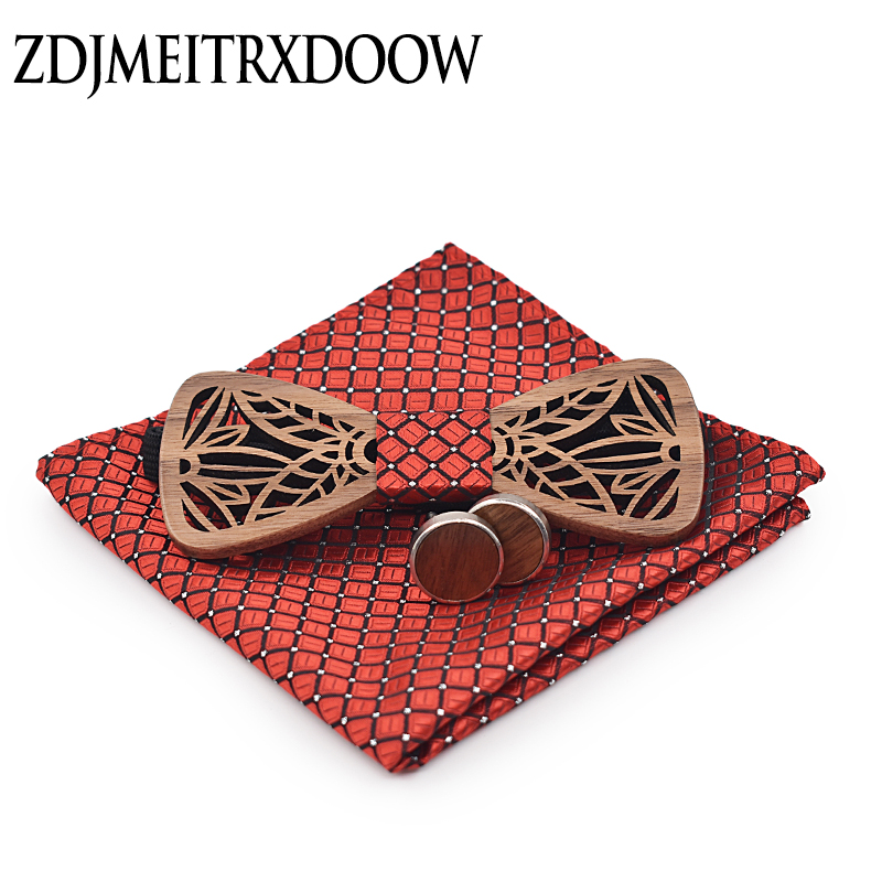Zdjmeitrxdoow Wooden Bow Tie Set And Handkerchief Bowtie Necktie Cravate Homme Noeud Papillon Man Corbatas Hombre Pajarita